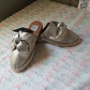 Dolce Vita Top Bow Gold Espadrille Mules  J256